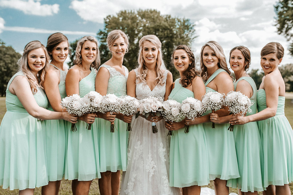 Bride and Bridesmaids Posing at The Woodlands at Algonkian