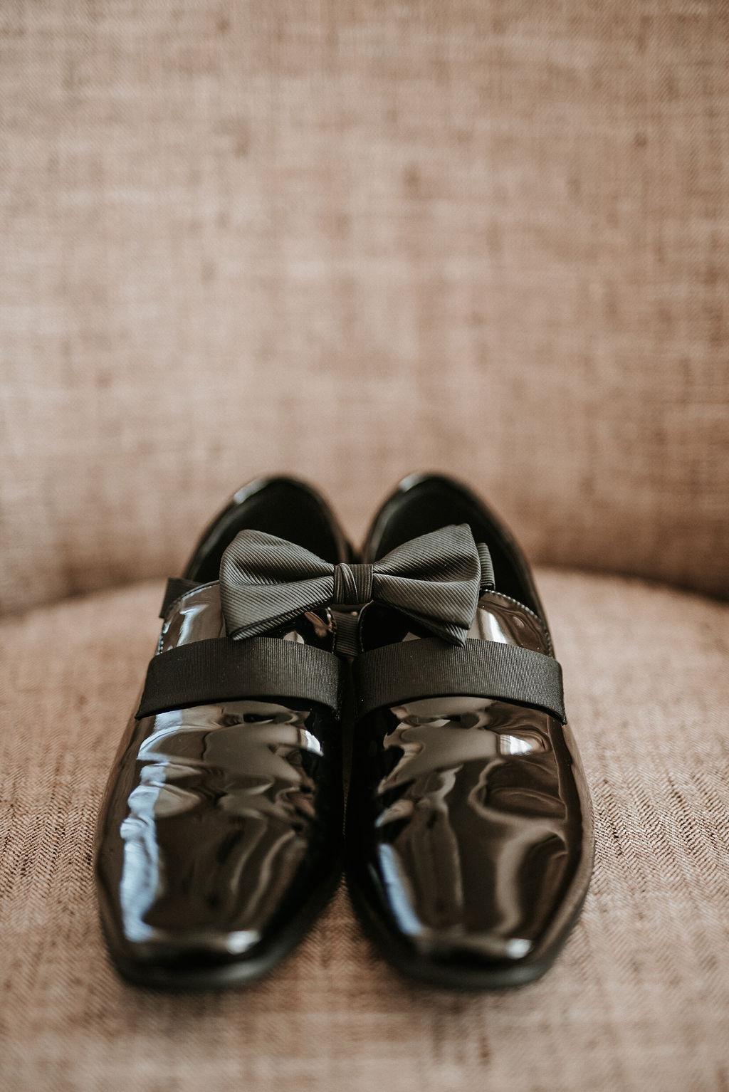 Detail shot of Groom's shoes at Bluemont Vineyard