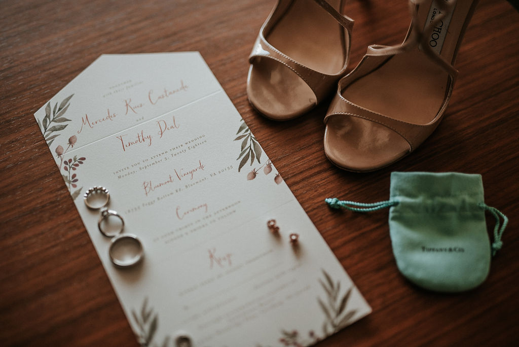 Detail Shot of Rings and Shoes at Bluemont Vineyard