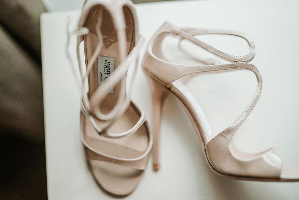 Bride's Wedding Shoes Detail Shot at Bluemont Vineyard