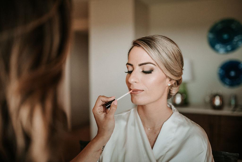 Bride Getting Her Makeup Done at Bluemont Vineyard