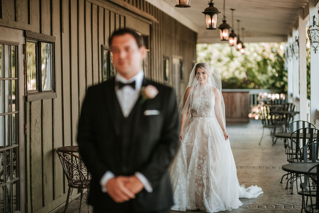 Bride and Groom First look at Bluemont Vineyard