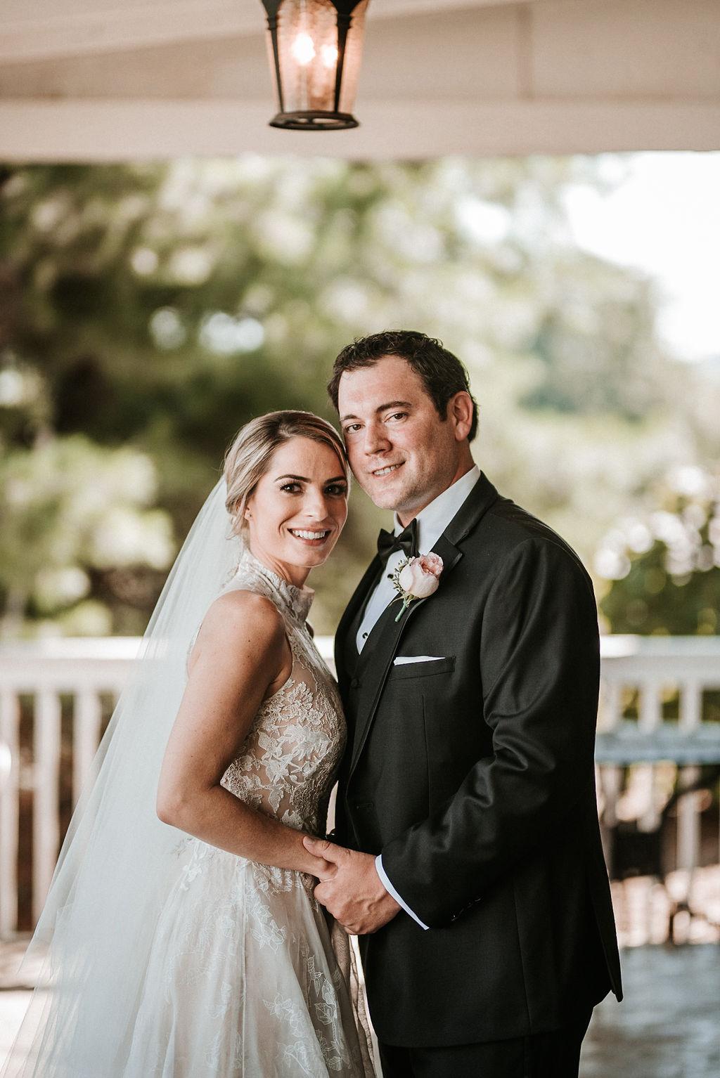 Bride and Groom Posing at Bluemont Vineyard