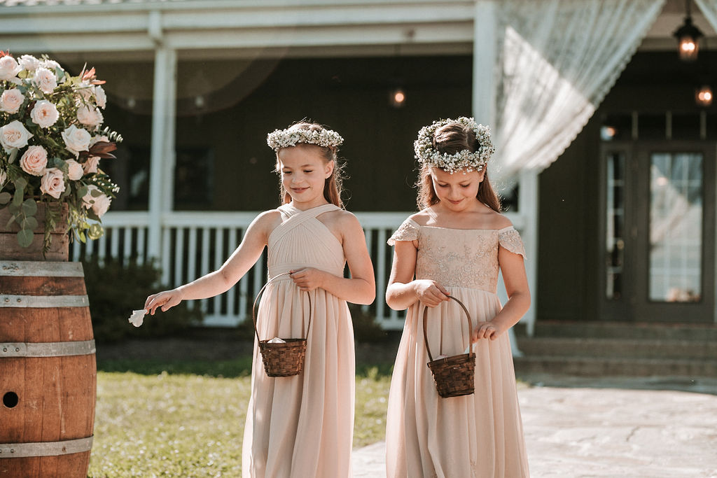 Flower Girls Going Down the Aisle at Bluemont Vineyard