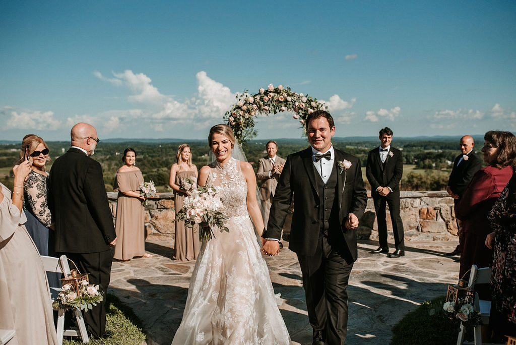 Bride and Groom Smiling at Bluemont Vineyard