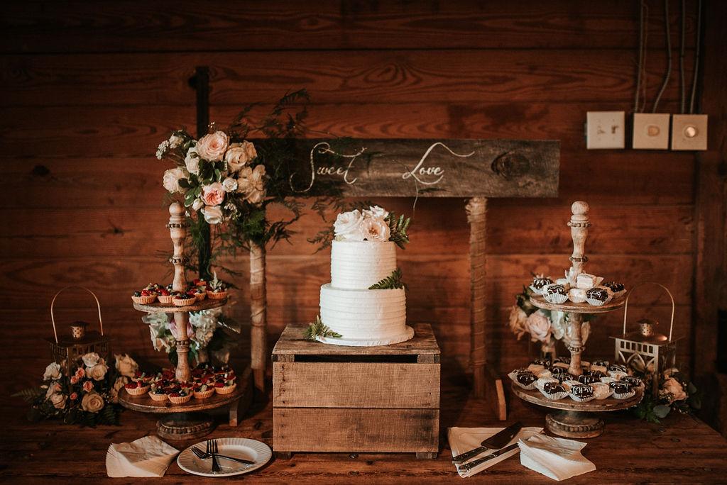 Dessert Table and WEdding Cake at Bluemont Vineyard