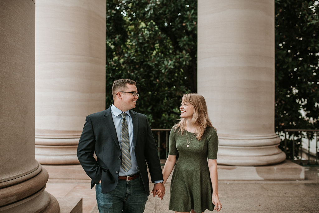 Couple looking at each other at engagement shoot at Smithsonian National Portrait Gallery
