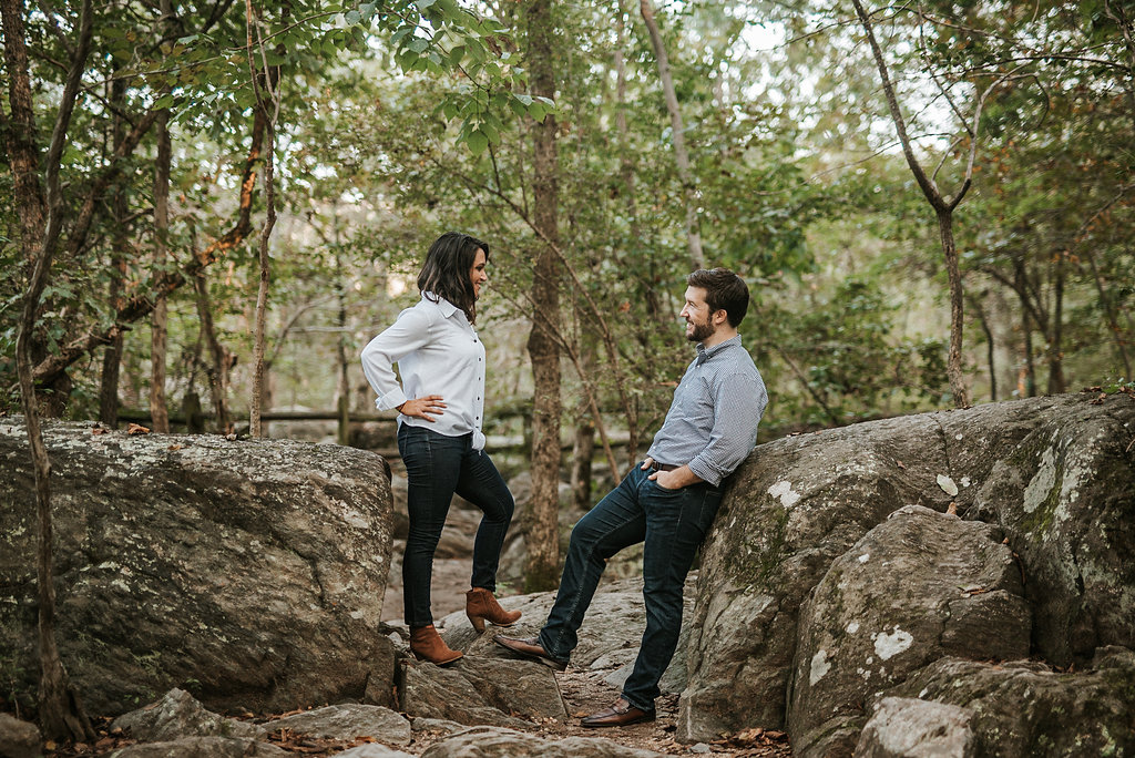 couple posing during engagement session at Great Falls National Park