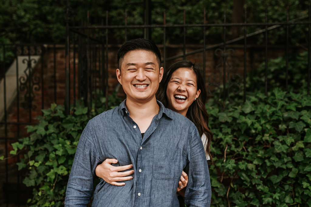 couple laughing during engagement session in Georgetown