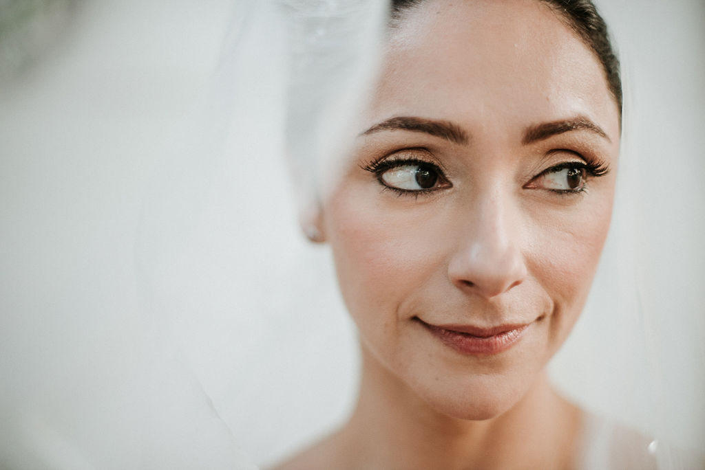bridal portrait under veil at Inn at the Old Silk Mill