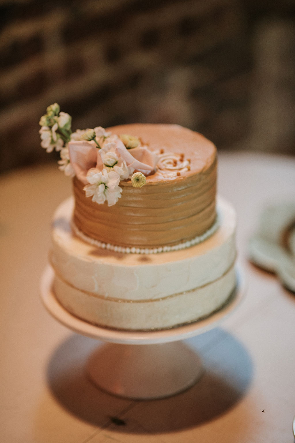 wedding cake detail shot at Inn at the Old Silk Mill