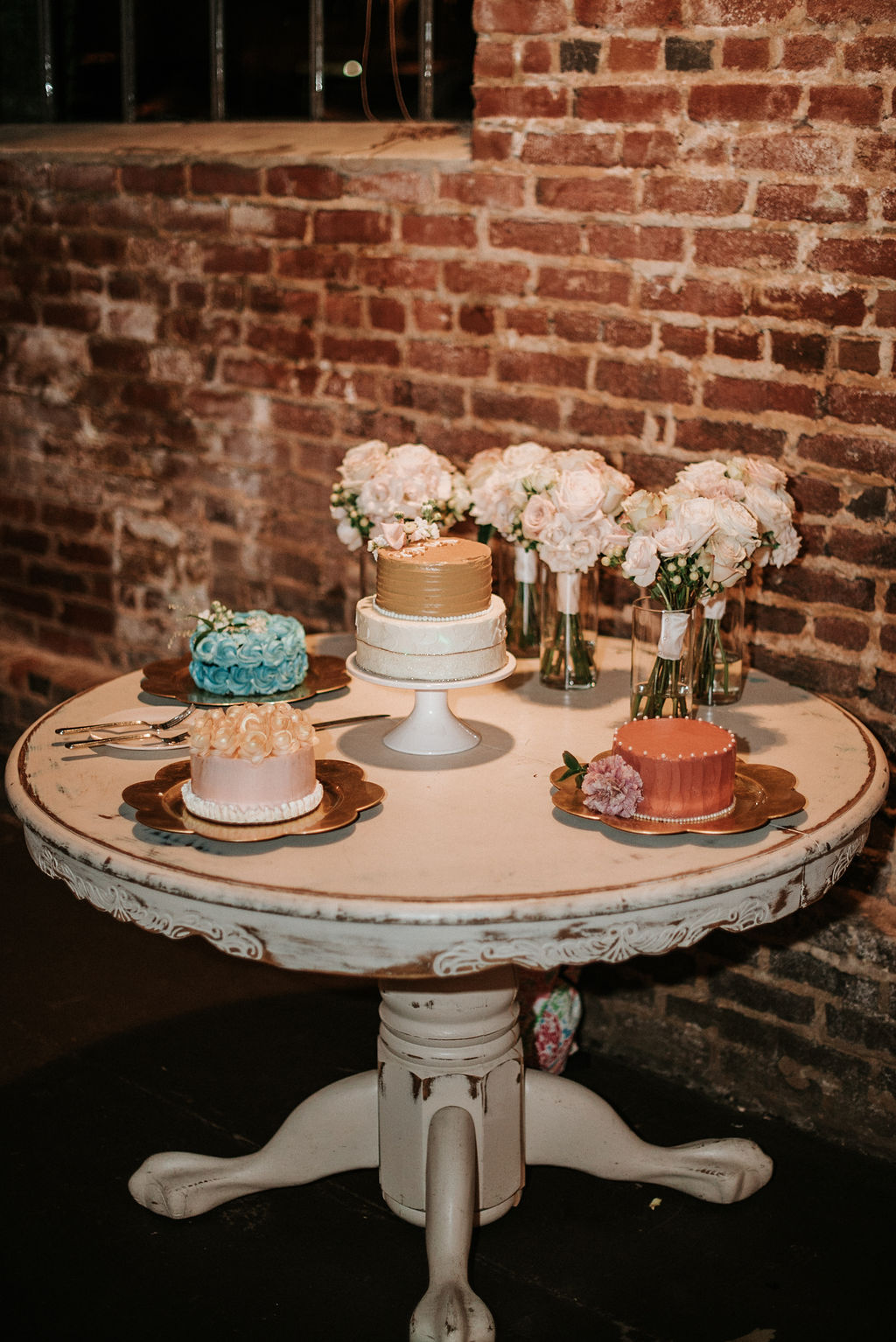 multiple wedding cakes at Inn at the Old Silk Mill