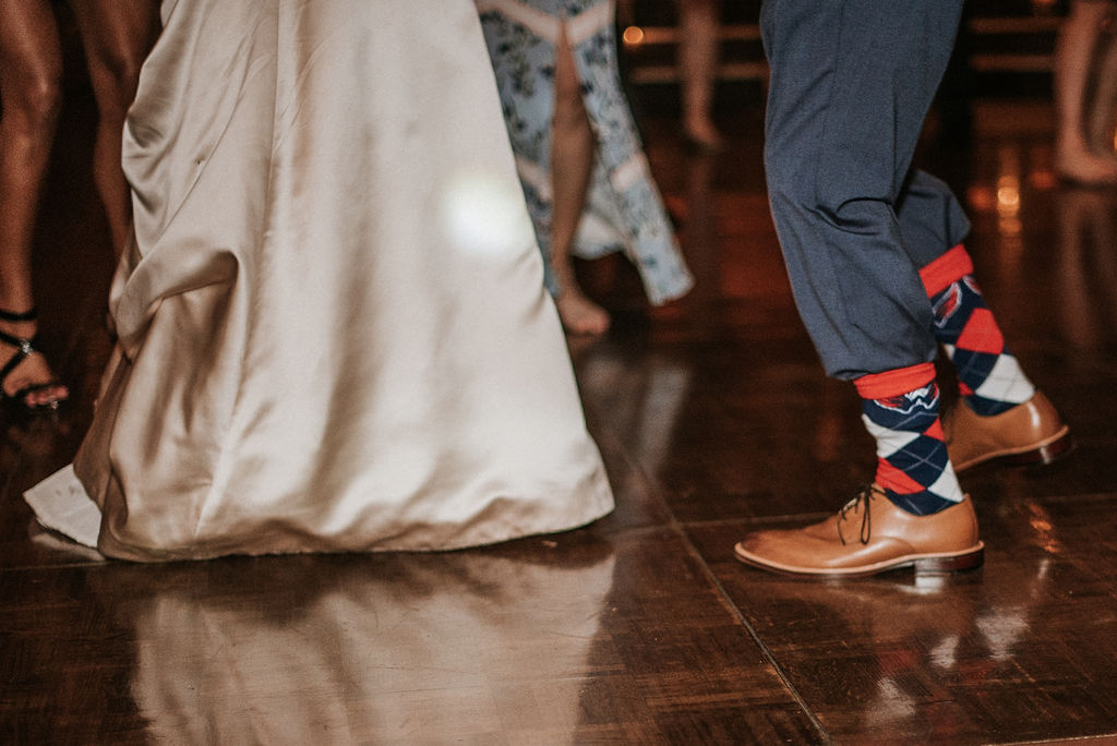 bride and groom dancing at Inn at the Old Silk Mill