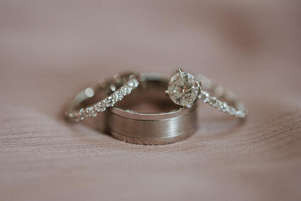 detail shot of wedding and engagement rings at Linganore Winecellars