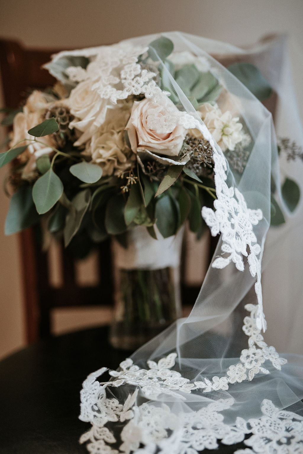 detail shot of flowers and wedding veil at Linganore Winecellars