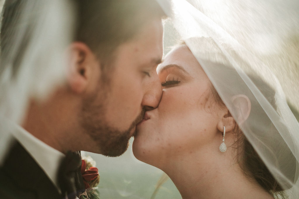 bride and groom kissing under veil at Historic Rosemont Manor