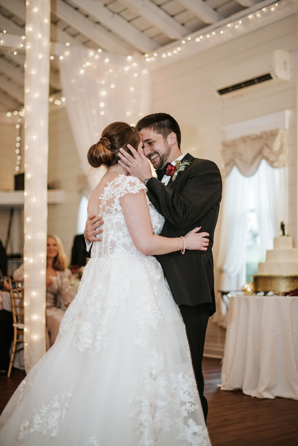 bride and groom dancing at reception at Historic Rosemont Manor