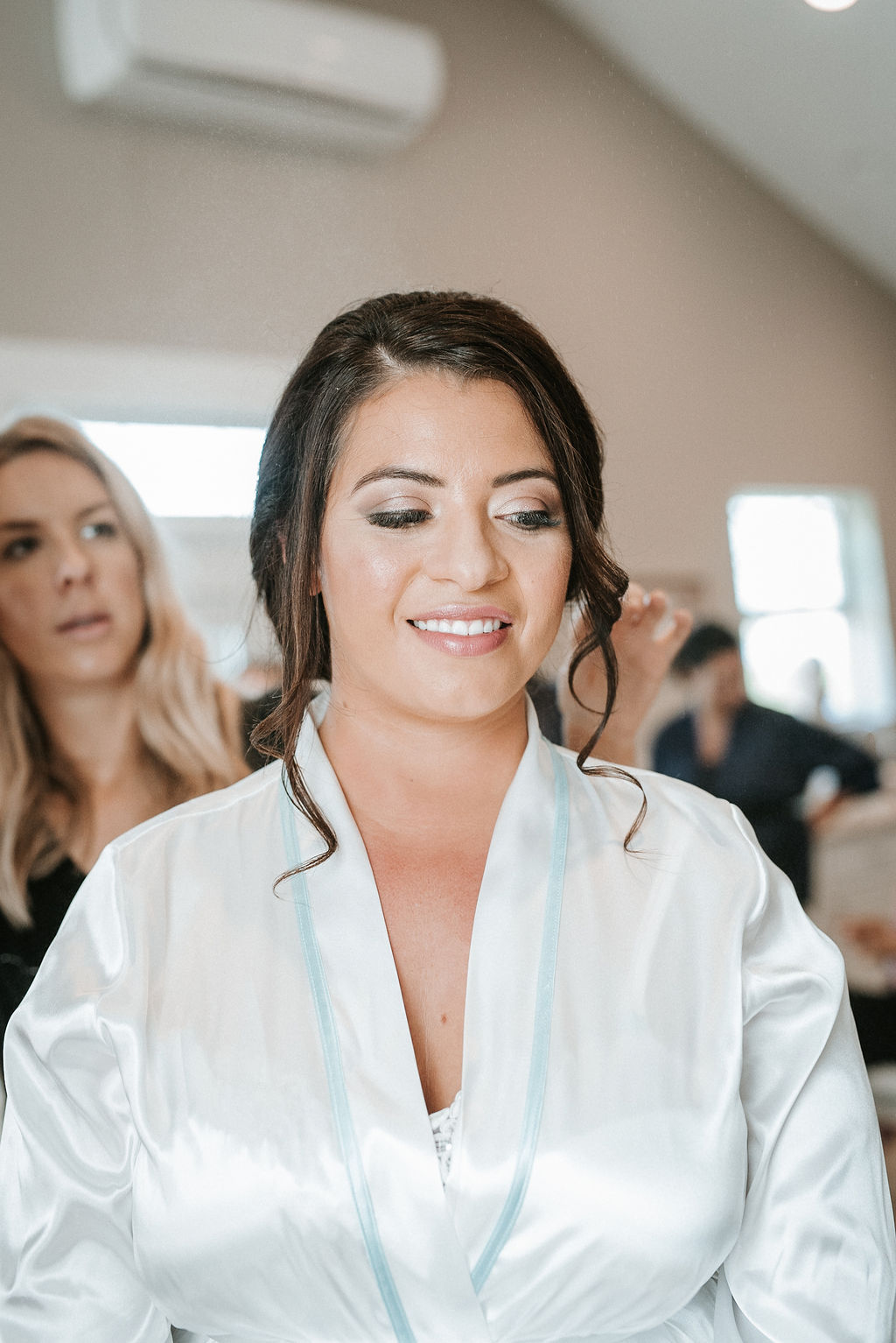 Bride Getting her Hair and Makeup Done at Blue Valley Vineyard
