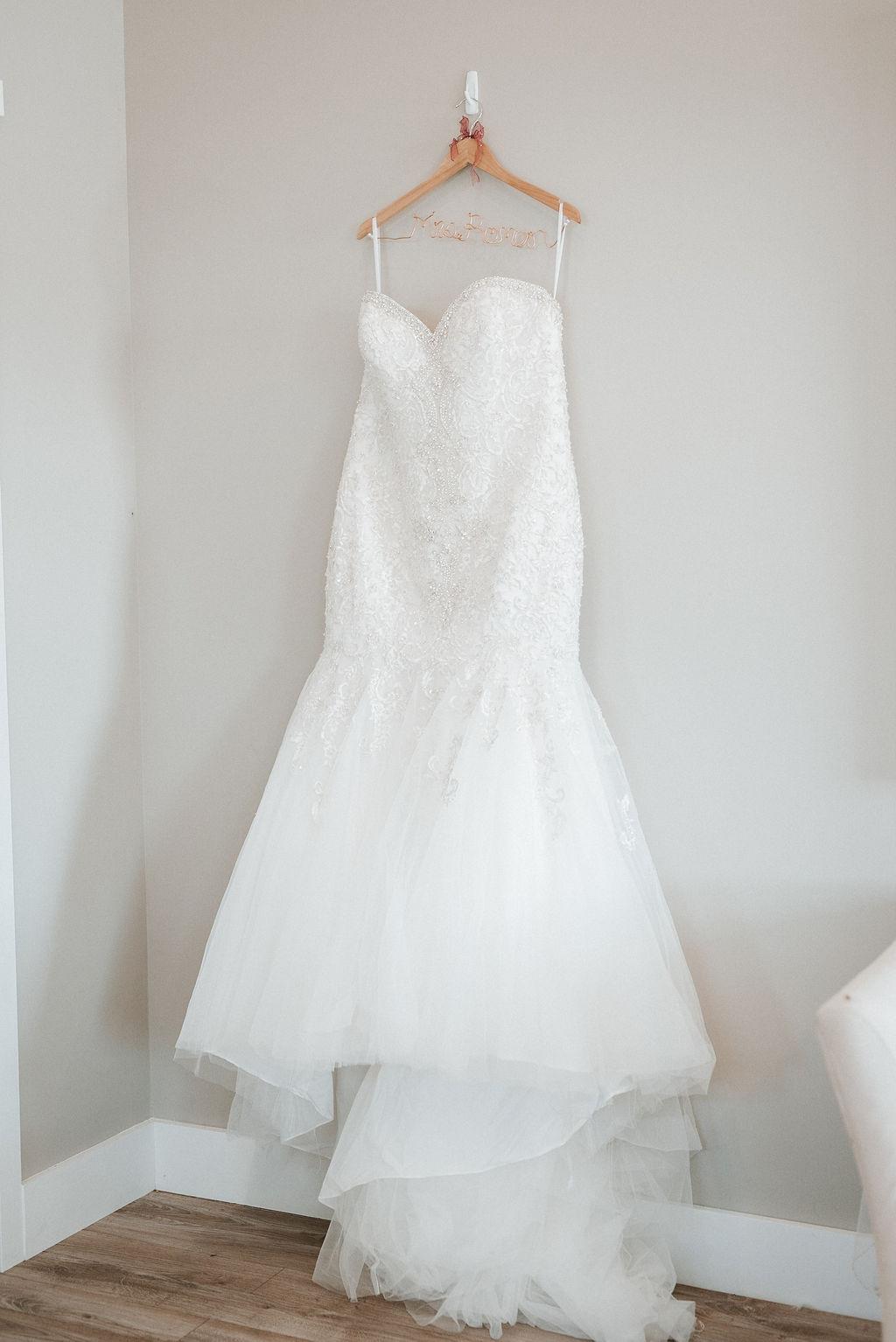 Detail Shot of Bride's Wedding Dress at Blue Valley Vineyard