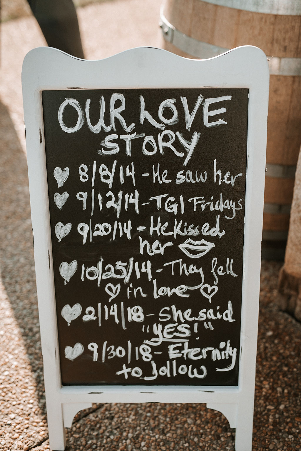 Bride and Groom Timeline Sign at Blue Valley Vineyard