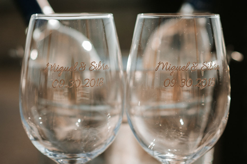 Labeled Wine Glasses at Blue Valley Vineyard