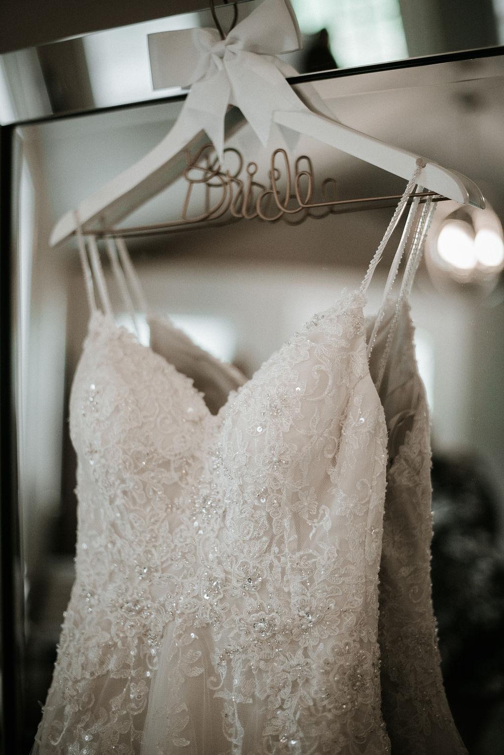 Detail Shot of Wedding Dress at 48 Fields Farm