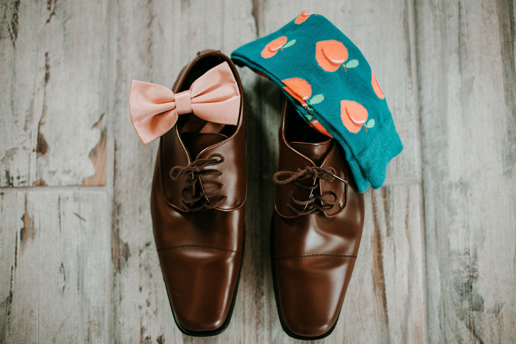 Detail Shot of Groom's Shoes, Bowtie, and Socks at 48 Fields Farm
