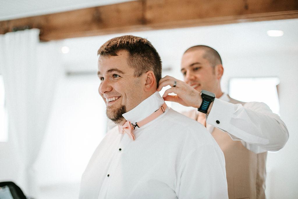 groom getting ready at 48 Fields Farm