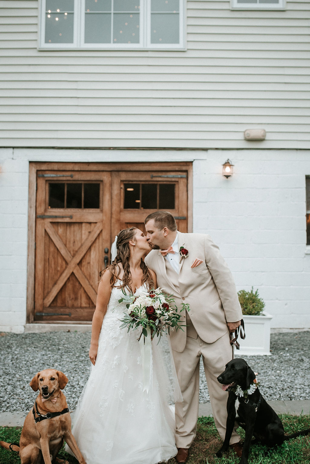 Bride and groom kissing as they hold their dogs at 48 Fields Farm