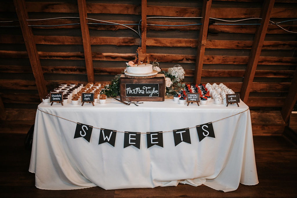 detail shot of dessert table at 48 Fields Farm