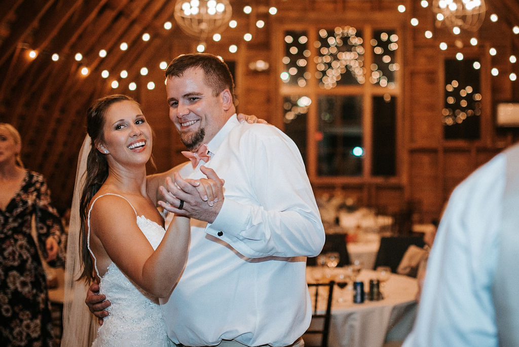 groom and bride dancing at reception at 48 Fields Farm