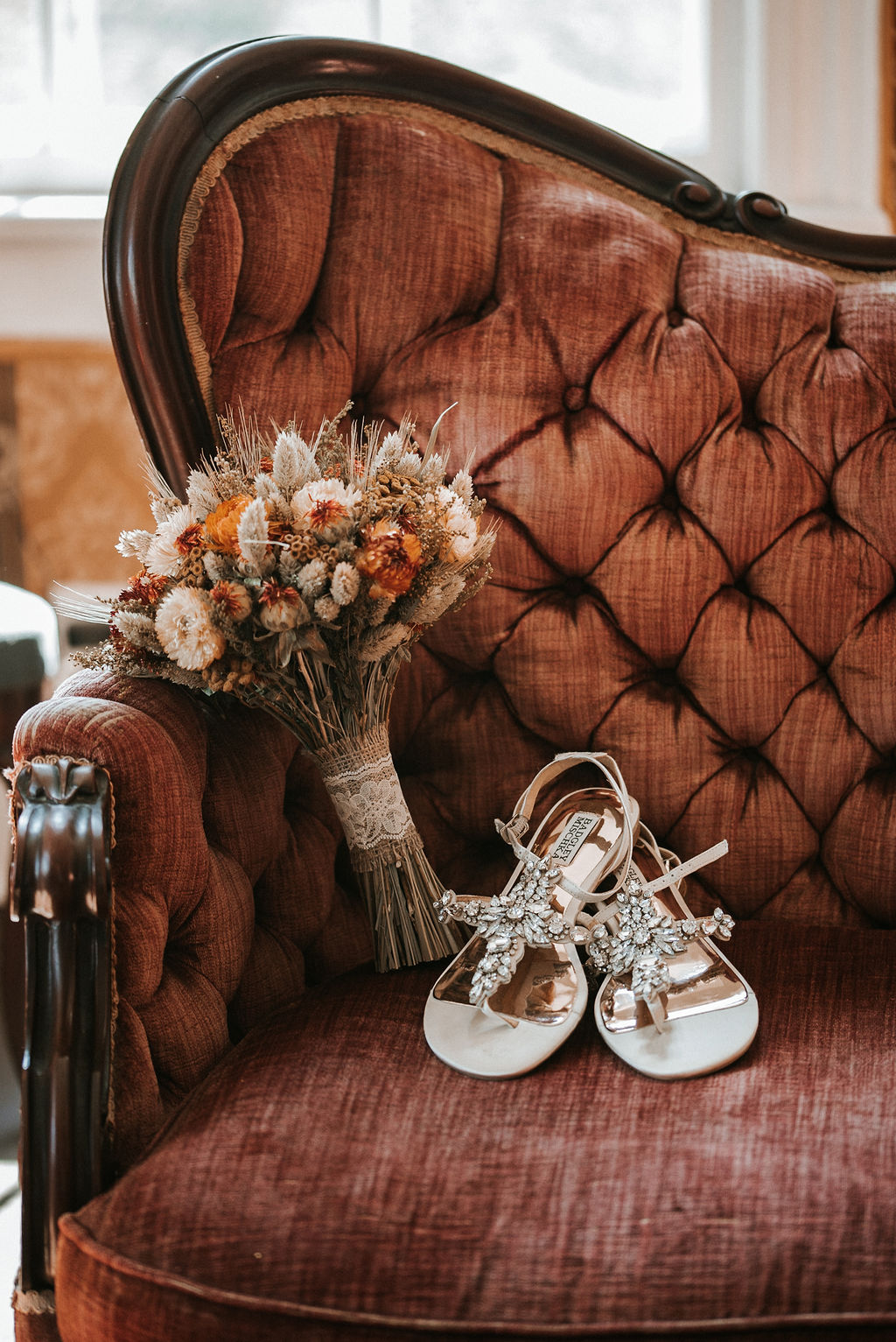 Detail Shot of Flowers and Wedding Shoes at Khimaira Farm