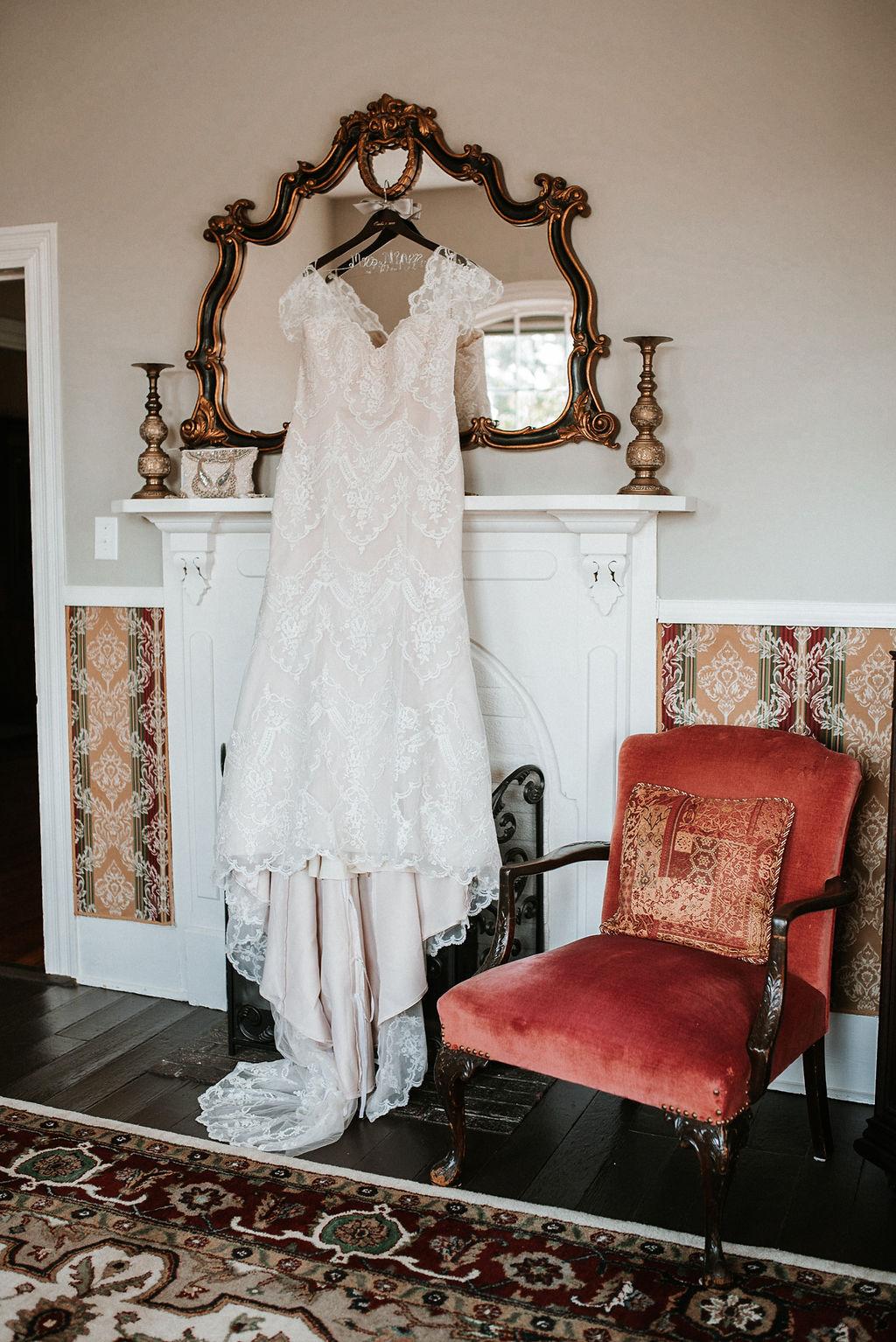 Detaio Shot of Wedding Dress at Khimaira Farm