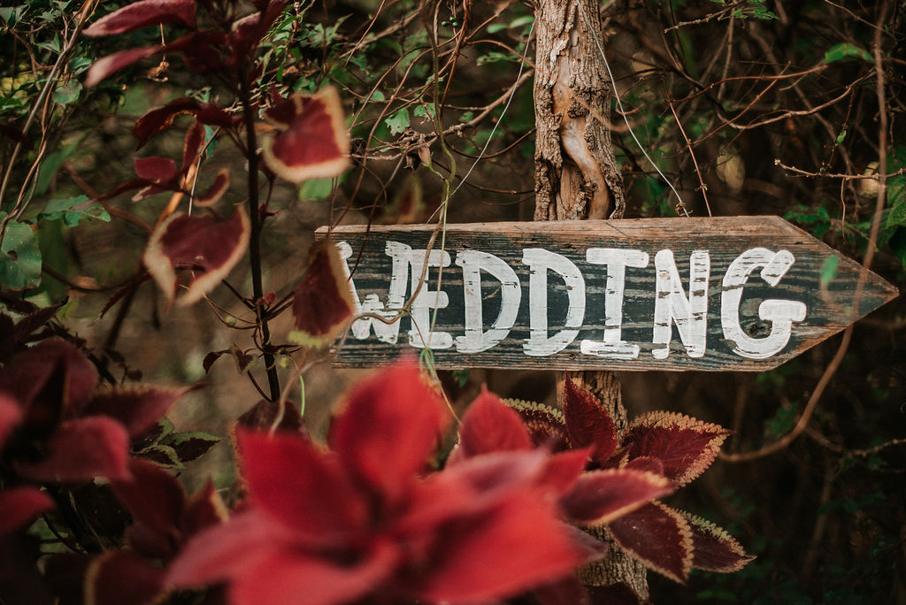 detail shot of wedding sign at Khimaira Farm