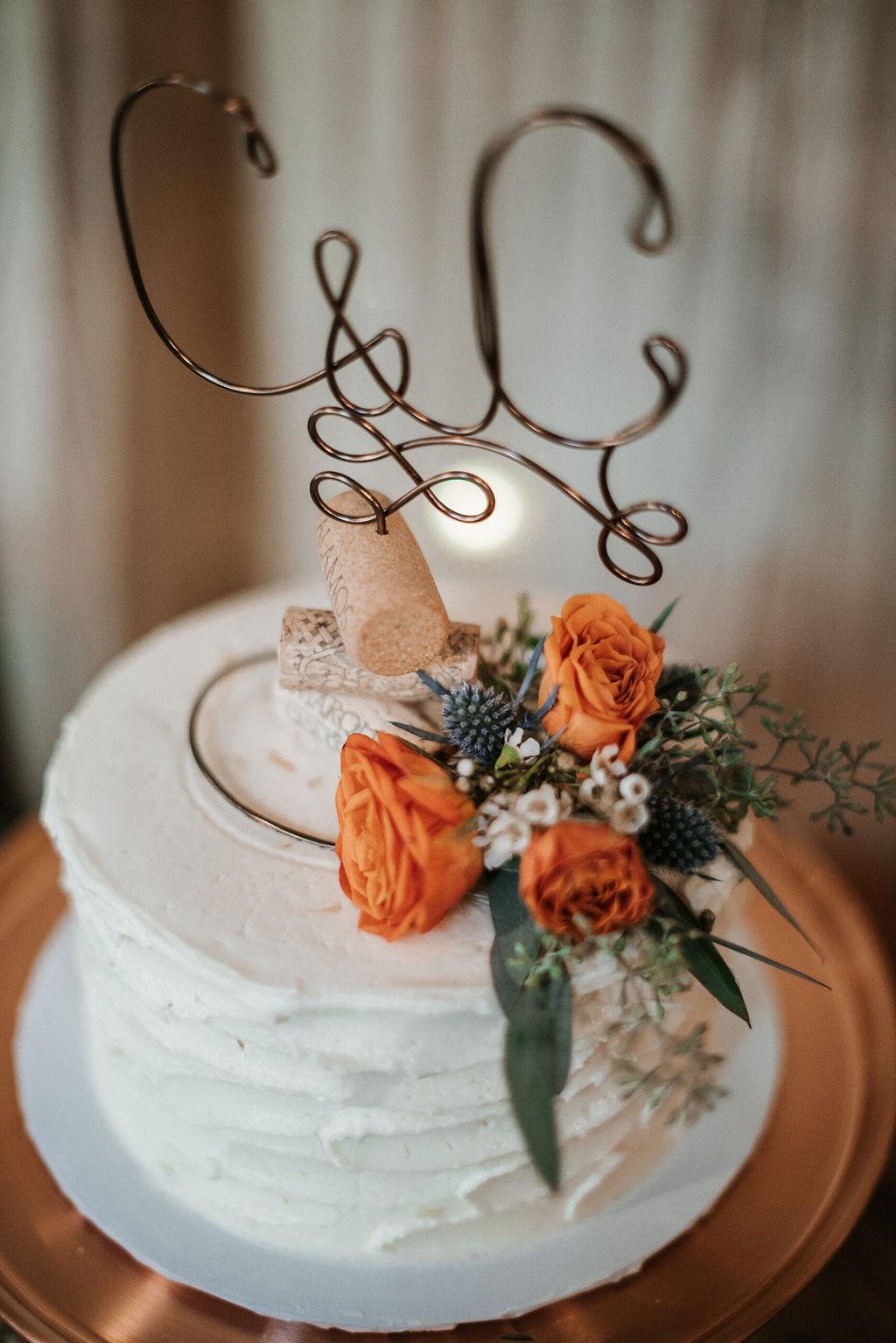 detail shot of wedding cake at Khimaira Farm