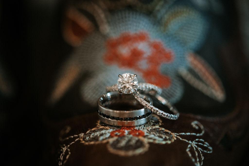 detail shot of wedding rings at kimble farm