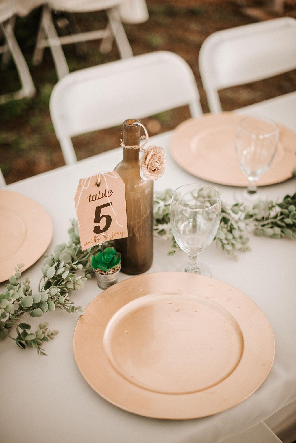 detail shot of reception table at kimble farm