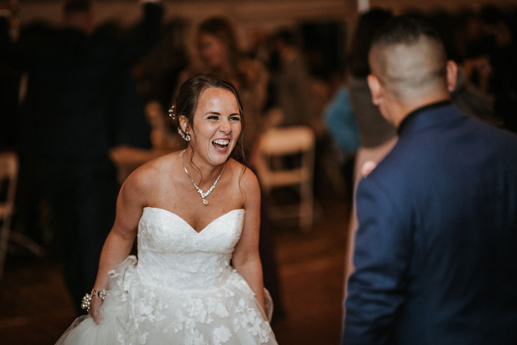 bride and groom dancing at reception at kimble farm