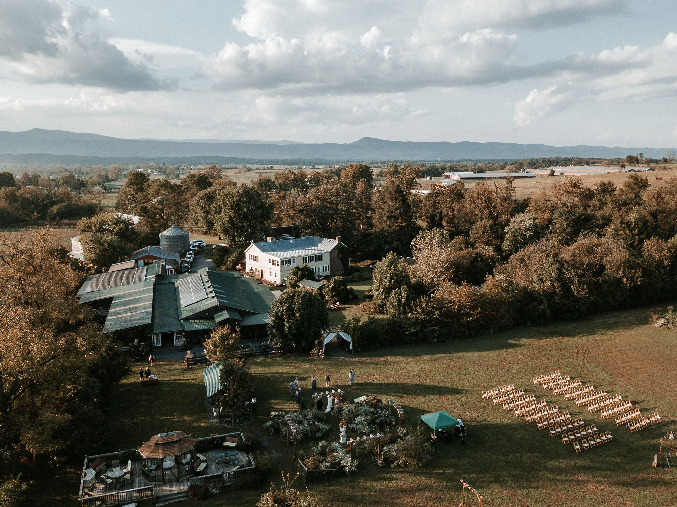aerial drone view of khimaira farm