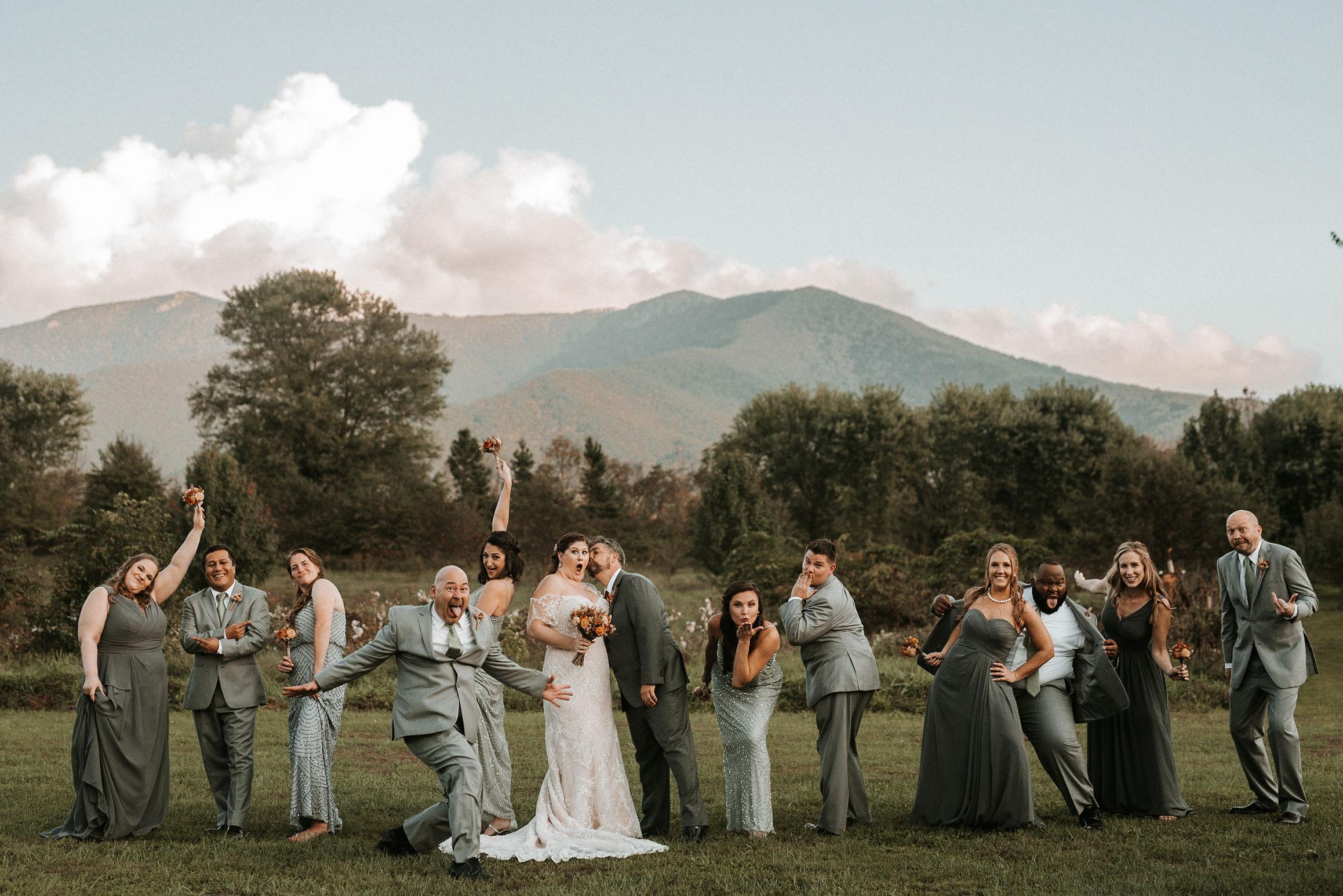 wedding party cheers at khimaira farm