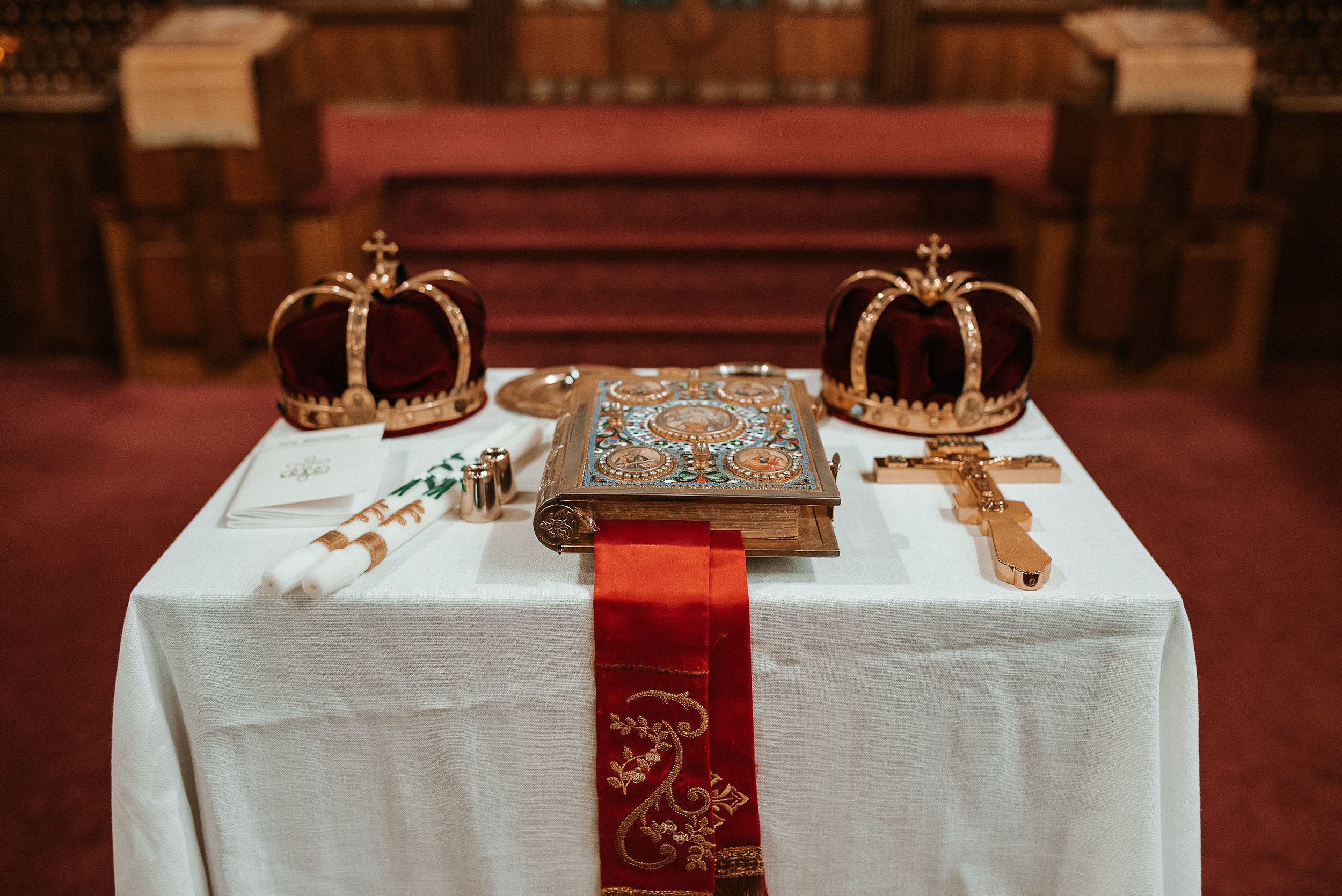 traditional items for wedding ceremony at St. Mark Orthodox Church