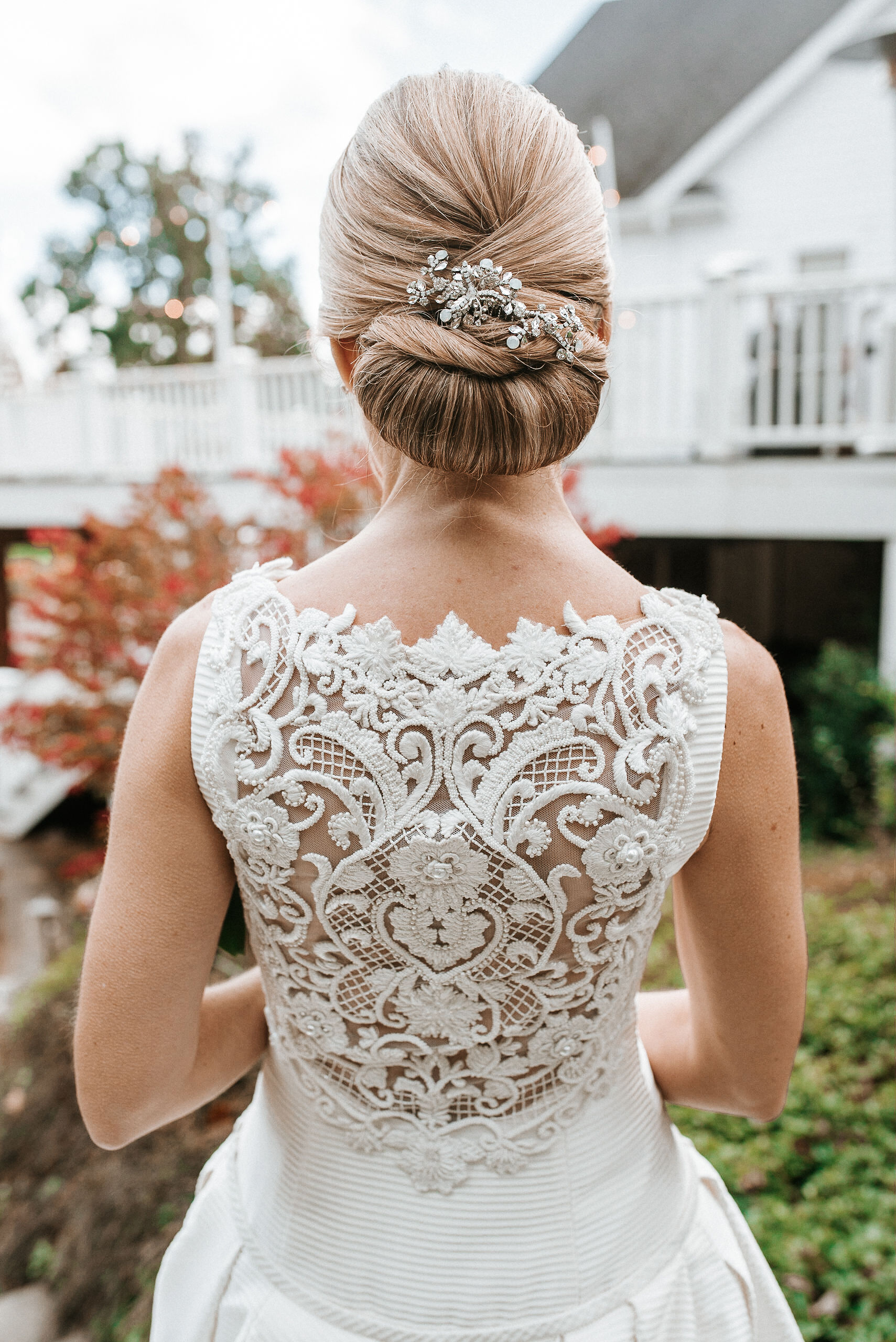 back of bride's dress and hair at St. Mark Orthodox Church