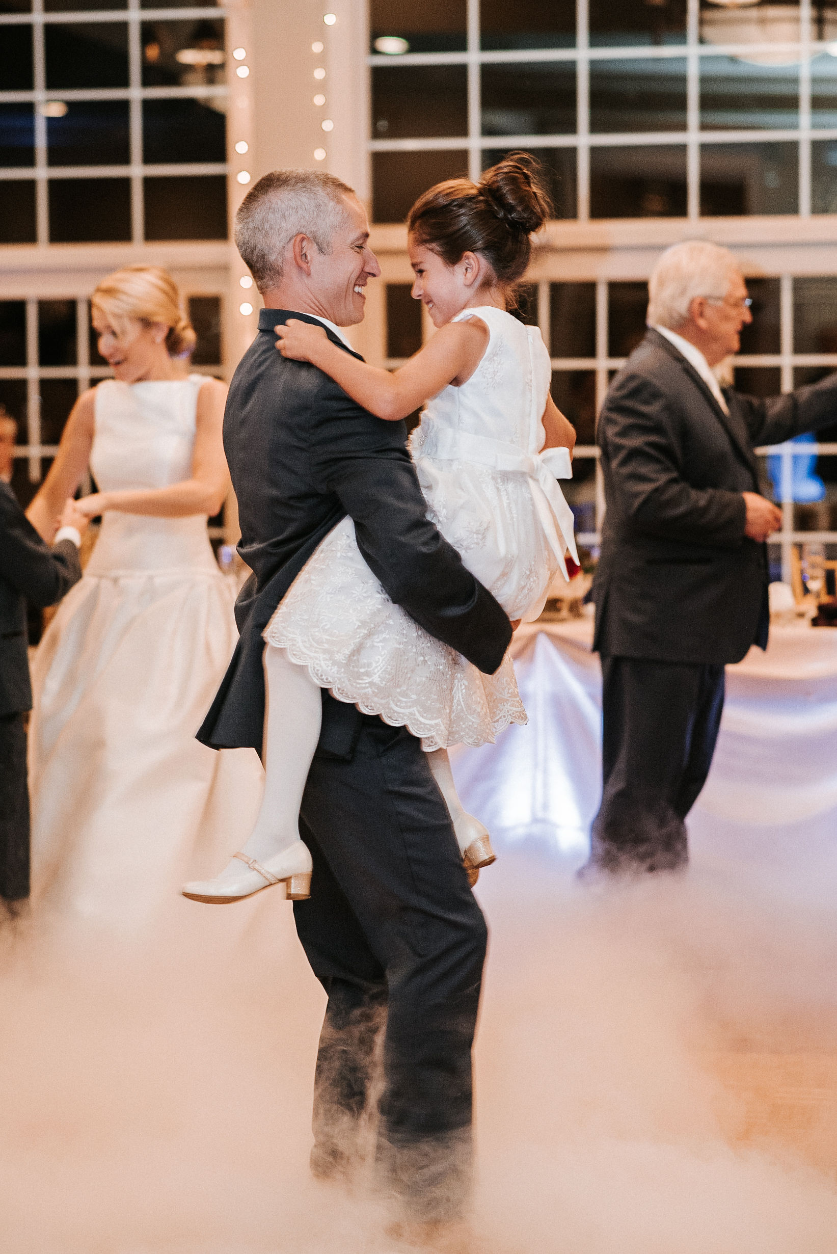 groom and daughter dancing at reception at St. Mark Orthodox Church