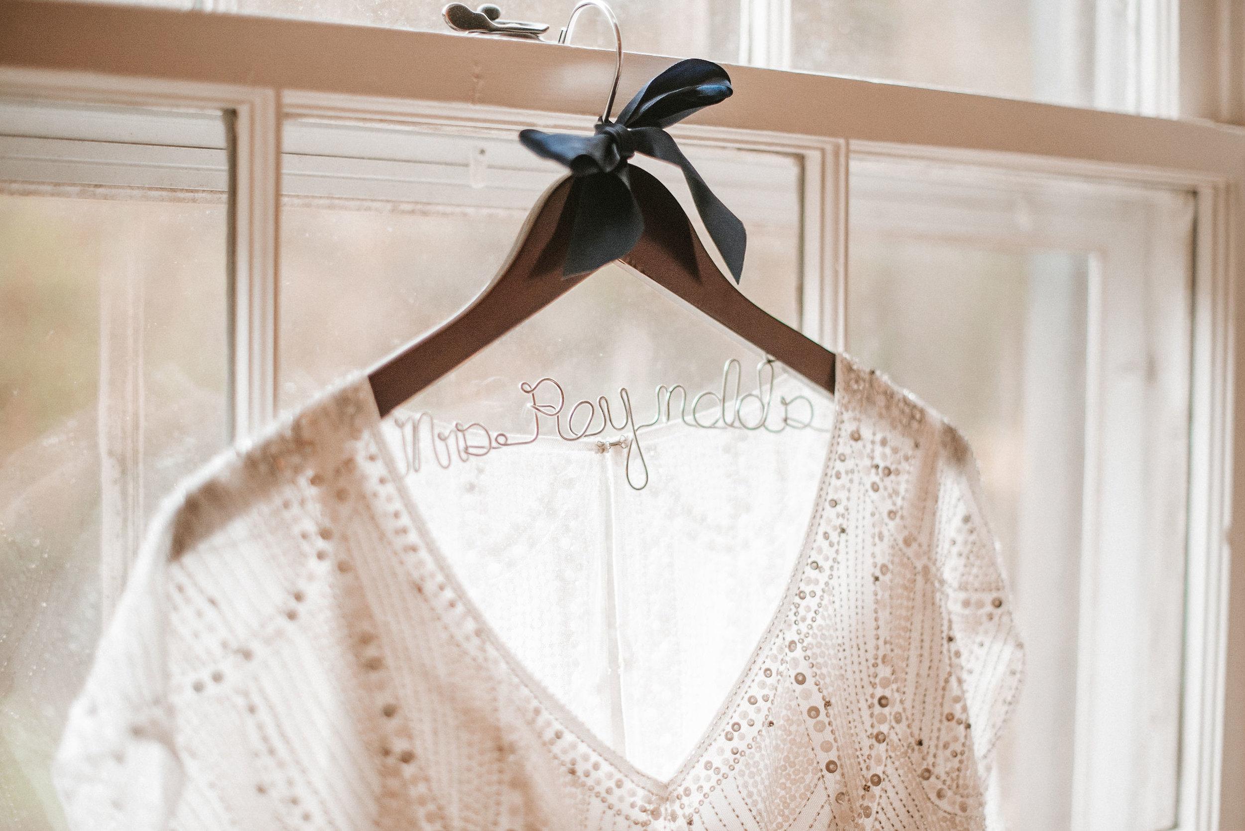 detail shot of wedding dress at Braehead Manor