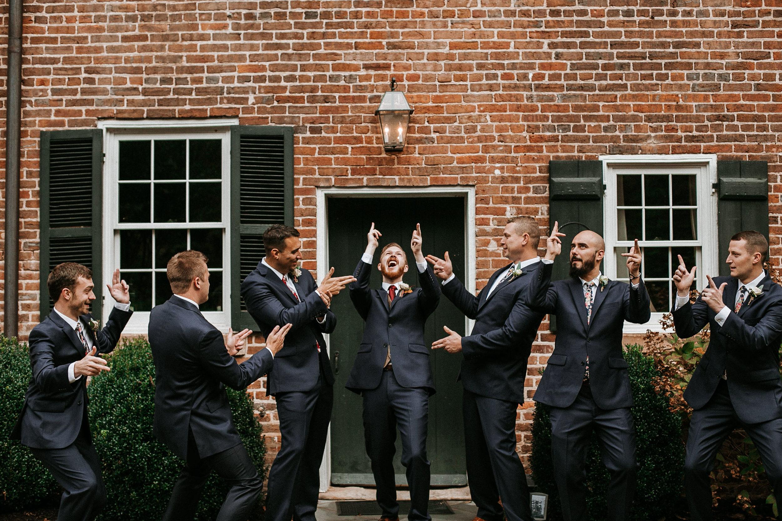 groom and groomsmen being candid at Braehead Manor