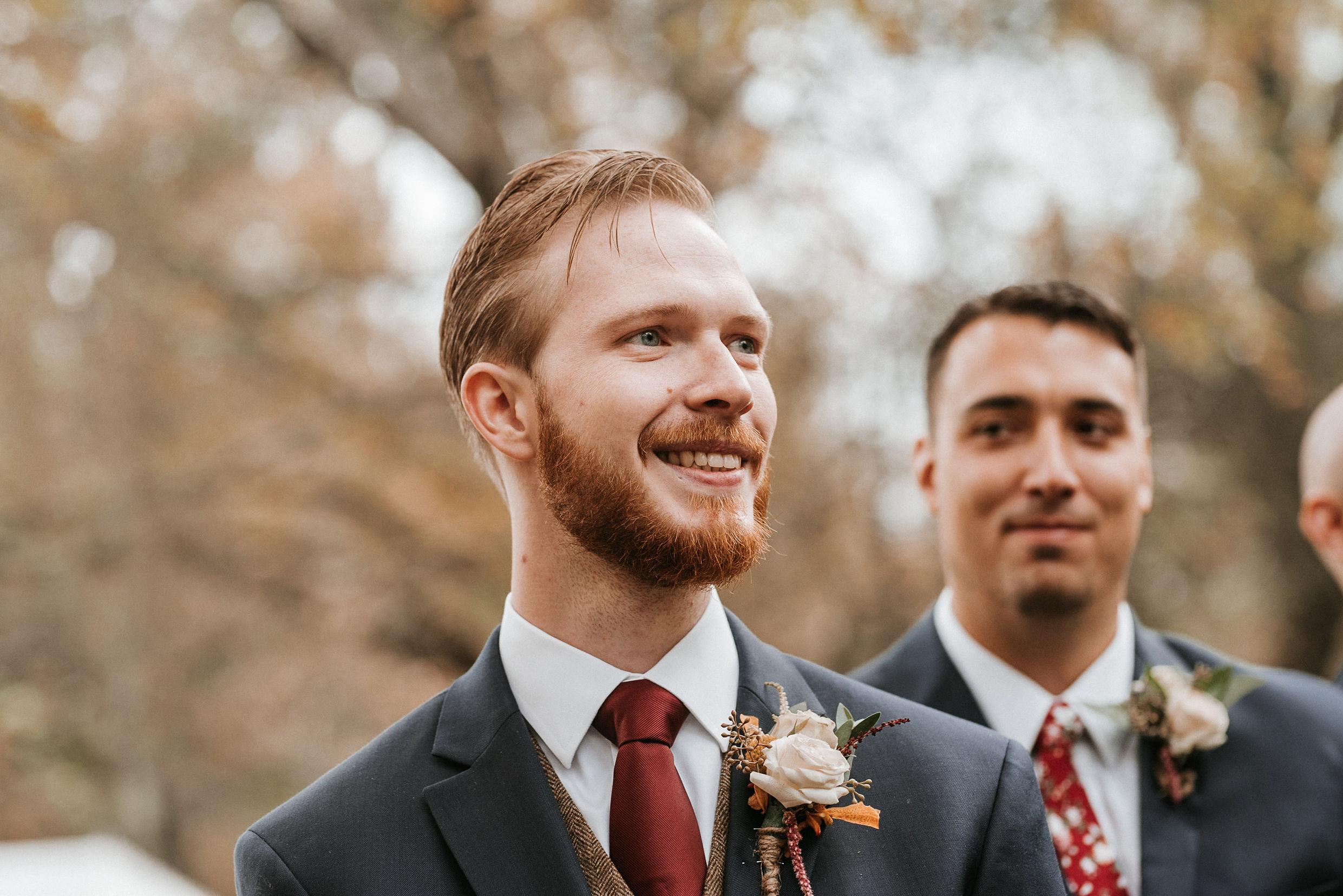 groom seeing the bride walk down the aisle at Braehead Manor