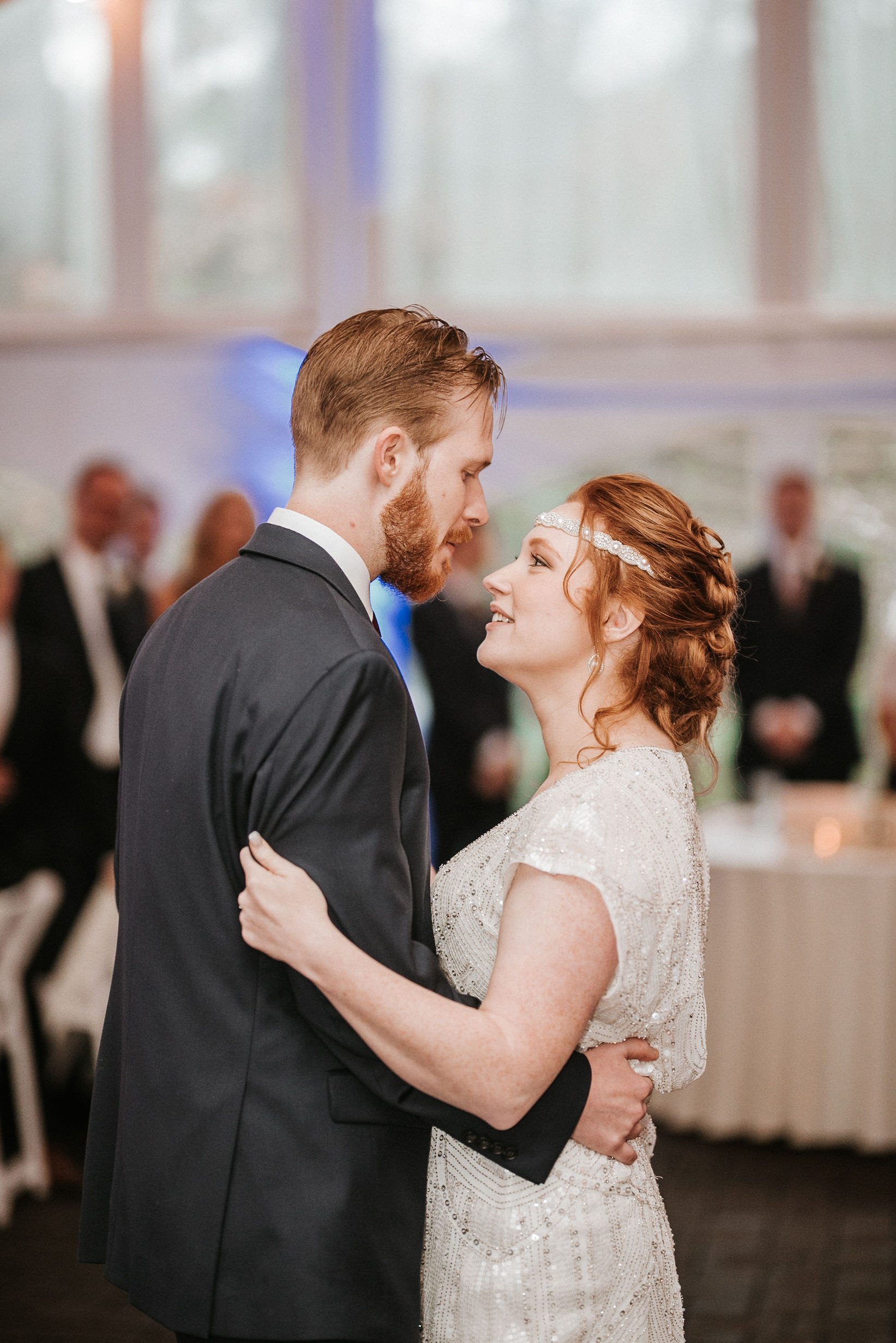 bride and groom have first dance at Braehead Manor
