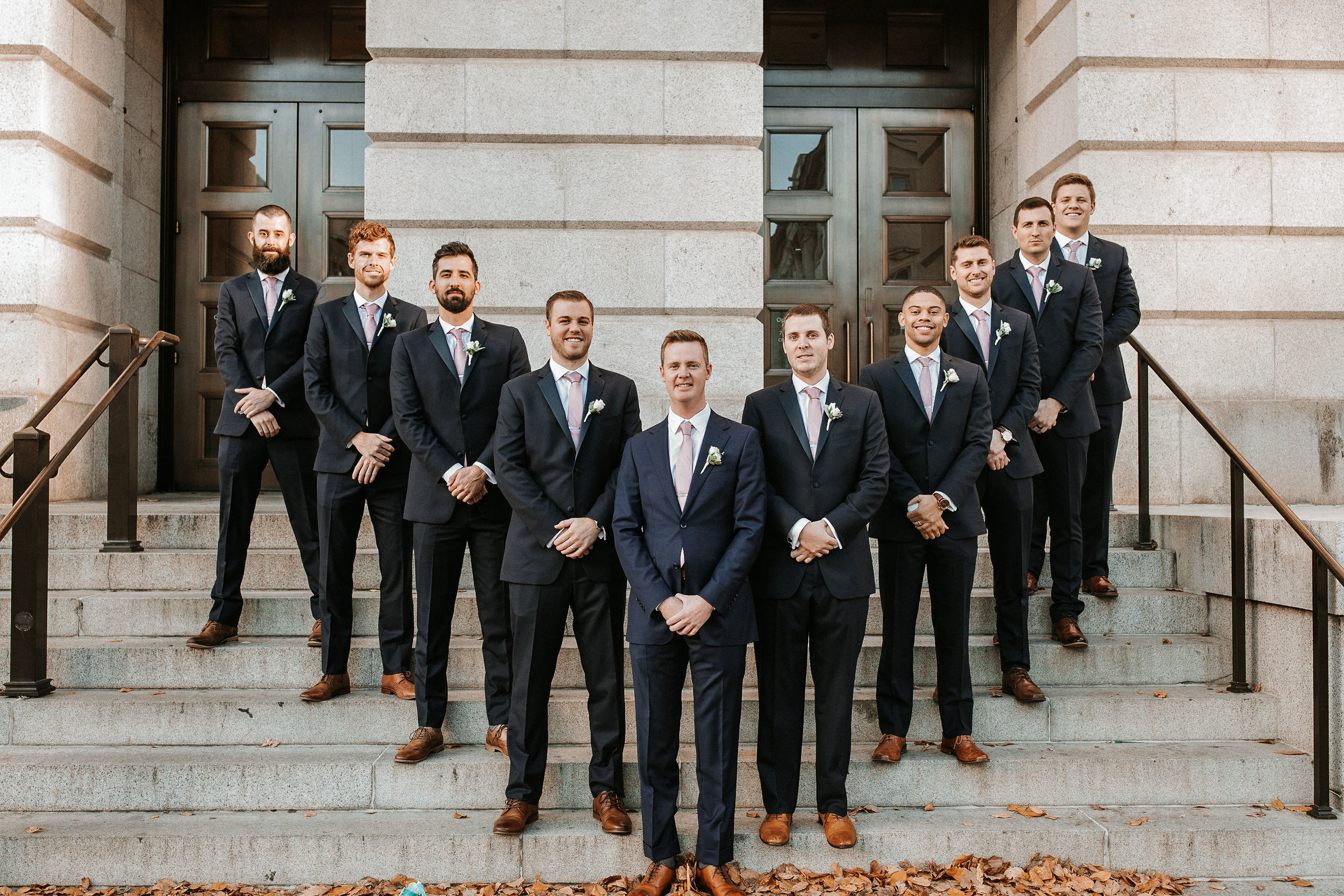 groomsmen posing at Hotel Monaco