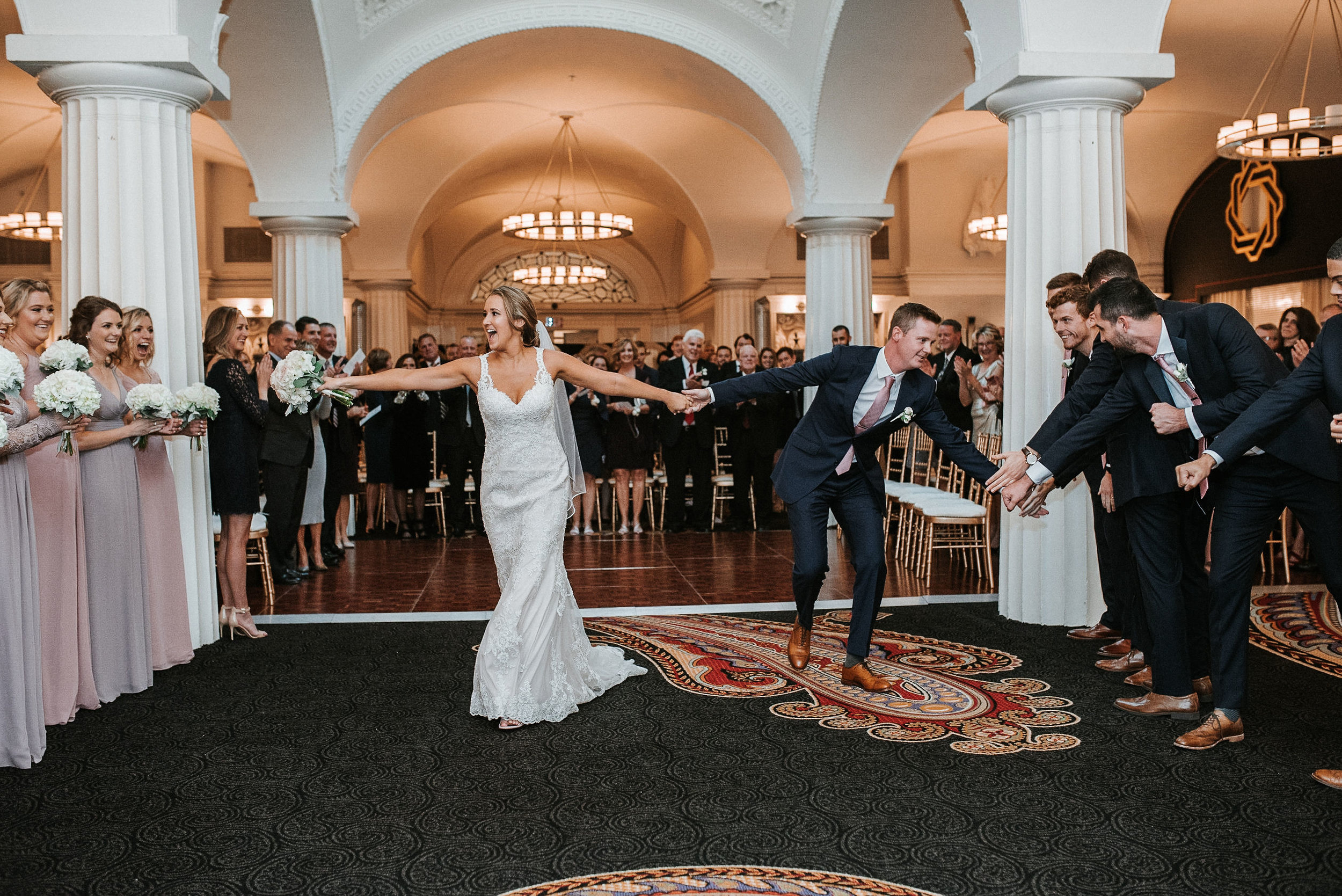 bride and groom after they said I do at Hotel Monaco