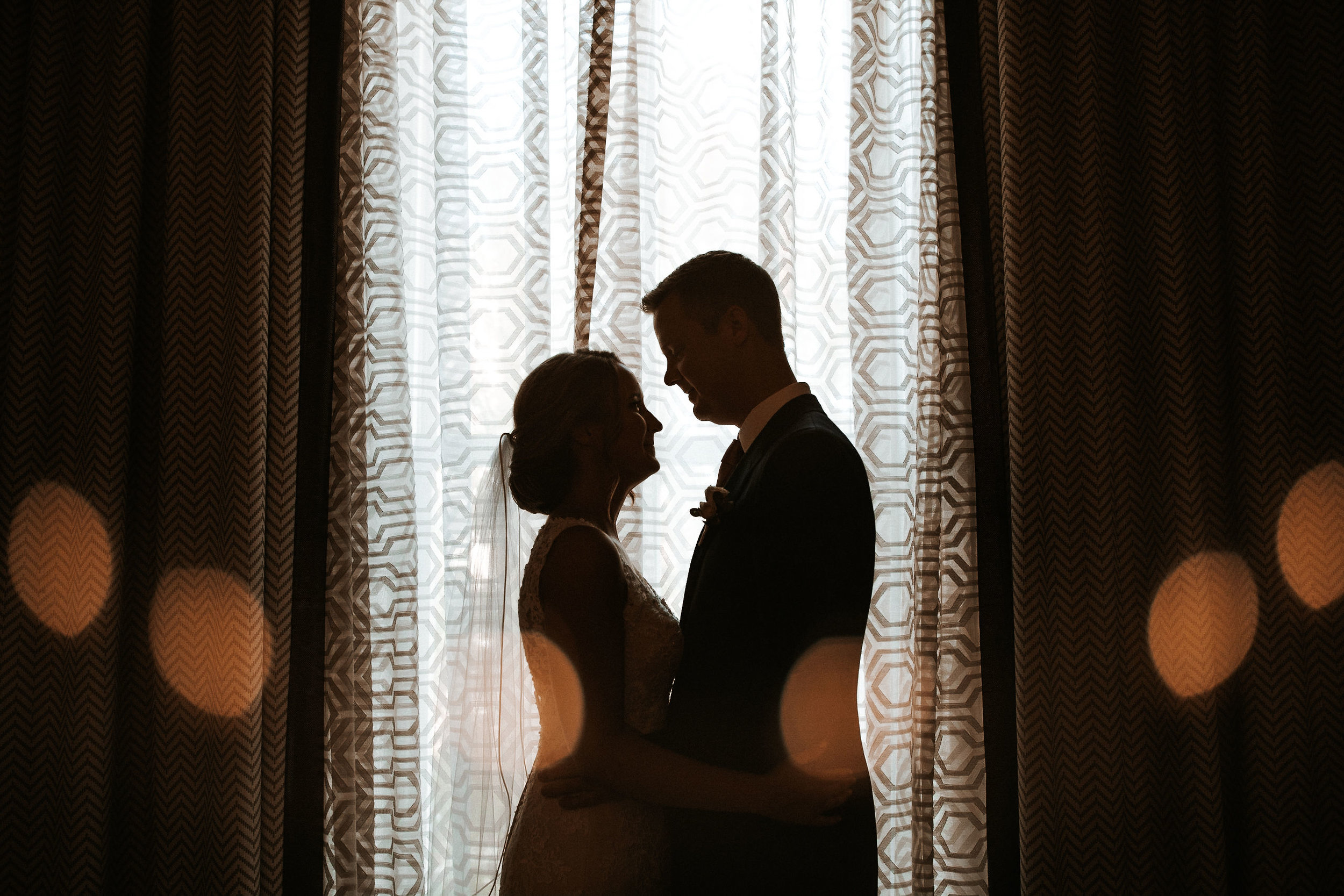 bride and groom silhouettes at Hotel Monaco